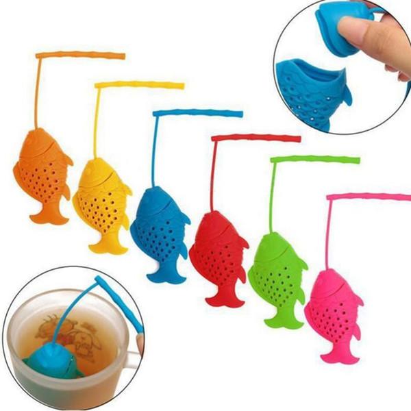 Filtri a forma di pesce in silicone per tè in silicone infusore per tè spezie infusore filtro a base di erbe bustine di tè creativo 6 colori YW206