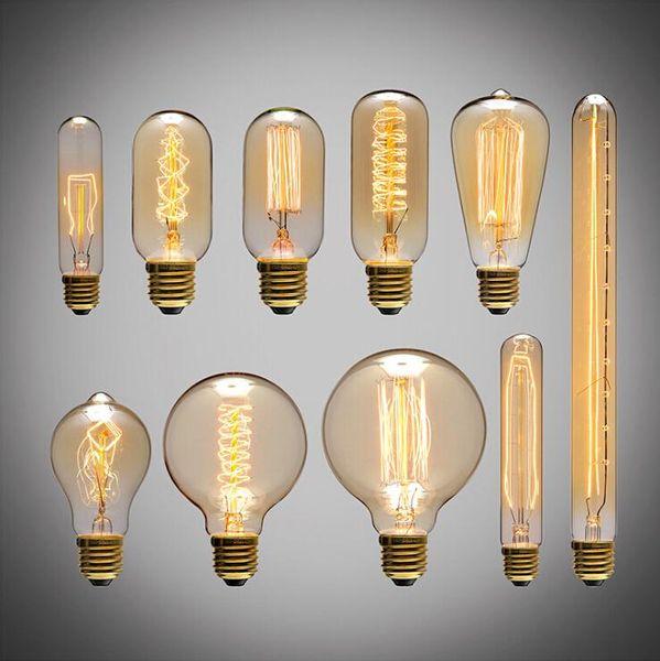 American vintage Edison Ampoules Source de lumière de fil de tungstène Suspendus Lampes 110V 220V E27 Support de lampe en laiton Ampoules à incandescence