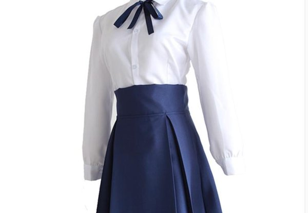 Japanese Anime Fate Stay Night Cosplay Saber Costume Arturia Pendragon Uniform Top + Skirt for Cosplay or Daily Use