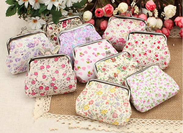 Mixed Fashion Hot Vintage broken flower coin purse canvas key holder wallet hasp small gifts bag clutch handbag EWT021