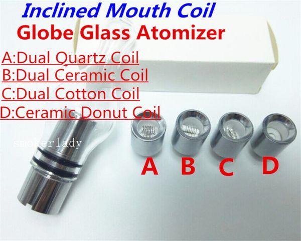 Glass Globe Atomizer coil Wax Vaporizer Dual Quartz Ceramic Rod Cotton Donut Coils for 510 thread battery free shipping