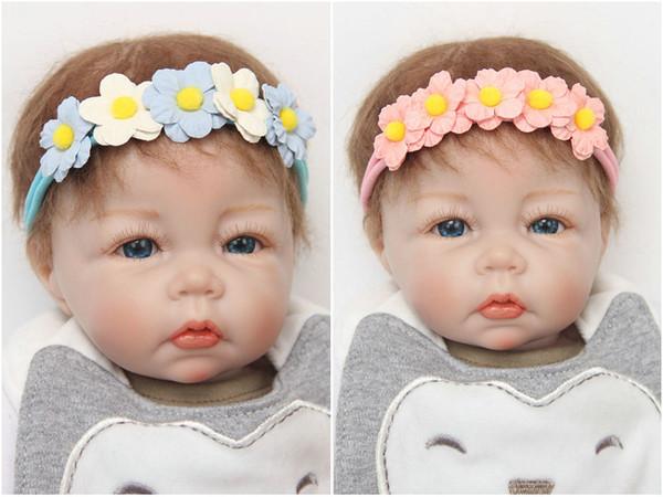 Bebê 3D flores Perfeito elástico Headbands faixas de Cabelo Infantil Crianças flores de tecido Boutique hair bows Hairdress acessórios para o cabelo das Crianças