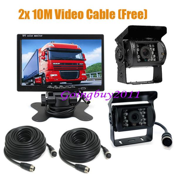 "2 x 18 IR CCD Car Reversing Camera + 4Pin 7"" LCD Monitor Rear View Kit Bus Truck Van Free Shipping"