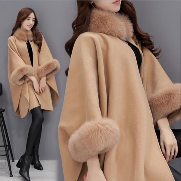 Fashion Cape Coat Design 2018 Spring Autumn Winter Fur Trim Women Assymetic Outwear Wool Cloak Khaki Black Winter Coats for Women