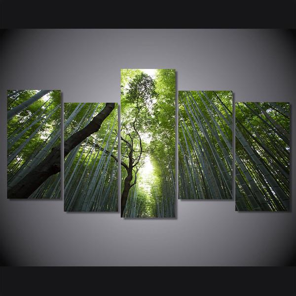 5 Pcs / Ensemble Encadré Imprimé bambou forêt paysage Peinture Toile Imprimer chambre décor impression affiche photo toile Livraison gratuite / ny-4514