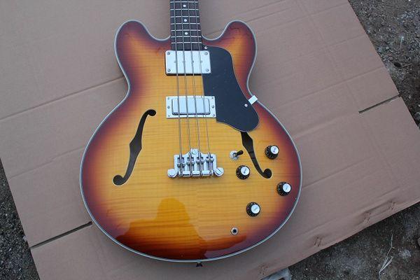 Custom 4 corde ES Jazz BASS Vintage Sunburst Basso elettrico Fiamma Acero Top Semi Hollow Body Double F Hole Tastiera in ebano