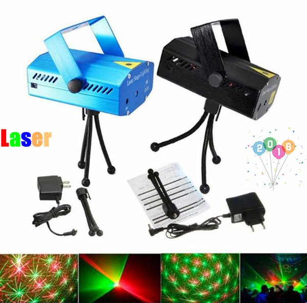 Mini Voz Juego automático Luces láser Proyector de iluminación Disco DJ Escenario Fiesta de Navidad Club Star Bar + Trípode + UE AU EE.