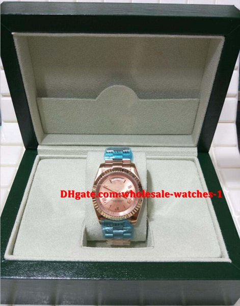 Christmas gift swiss Luxury watches Original box certificate Automatic 18K Day Date II 18k rose Gold 41mm Pink Roman Dial 218235