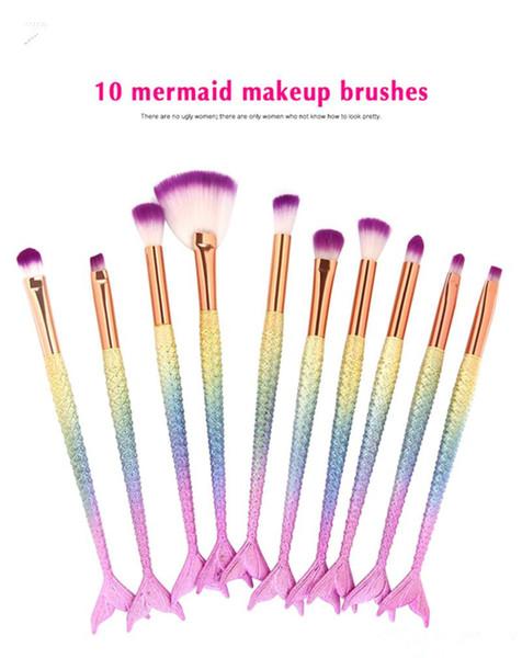 Conjunto de pincéis de maquiagem dos olhos 10 pçs / set Sereia Lidar Com Design Blush Em Pó Sobrancelha Sombra de olho Delineador Eyesocket Misturando Nose Fan Make Up Brush