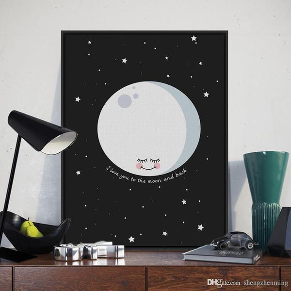 Nordique Minimaliste Lune Amour Citations A4 Grand Art Print Affiche de Bande Dessinée Mur Photo Peinture Toile Encadrée Enfants Chambre Décor À La Maison