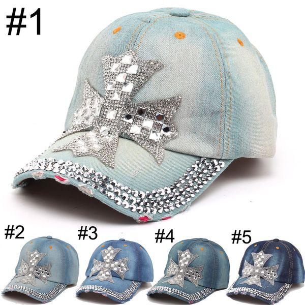 2016 Summer New Fashion Designer Cross Rhinestone Hats Women Denim Sun Hats Super Quality Outdoor Sport Hat Baseball Hats Caps for Lady