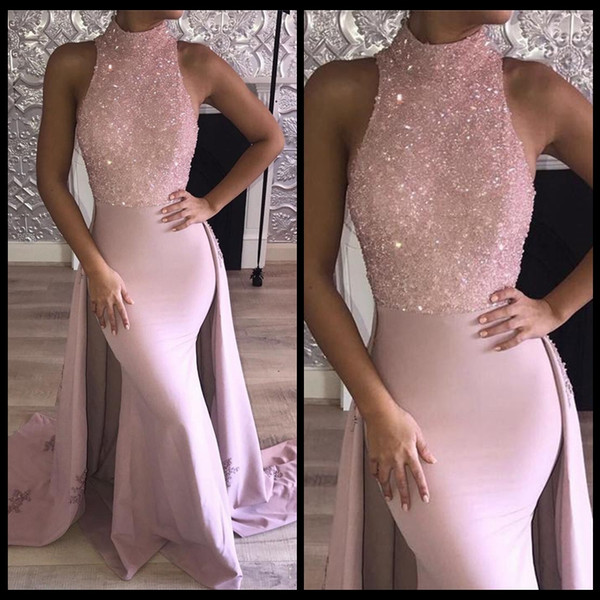 Formal Dresses Evening Blink Blink Sequins Beaded Halter Sleeveless Satin Trumpet Detachable Prom Gowns