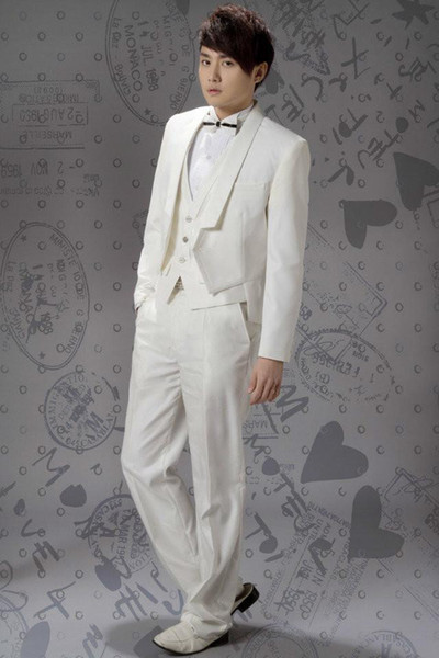 Dashing Custom Made Short Tailcoat Shawl Lapel One Button Groomsman's Wears Three Pieces Wedding Suits For Man (Jacket+Pants+Vest)