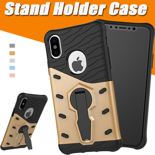 360 Degree Rotary Armor Gear Case TPU+PC Hybrid Anti-shock Stand Holder Kickstand Cover For iPhone X 8 7 6 Plus Samsung S8 Plus Note 8
