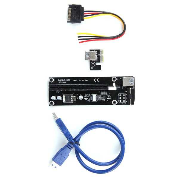 Wholesale- 50CM USB 3.0 PCI-E Express 1x to 16x Extender Riser Card Adapter SATA 15pin-4pin Power Cable for Motherboard and graphics cards