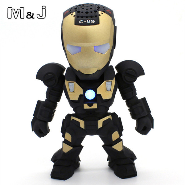 Hands Free Wireless Bluetooth Speaker LED Transformers Iron Man Robots Subwoofer With FM Radio Support TF Card for Phone PC