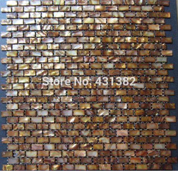 HYRX shell mosaic tiles dyed Antique gold color;mother of pearl mosaic tiles kitchen backsplash tiles;decorative mosaic tile