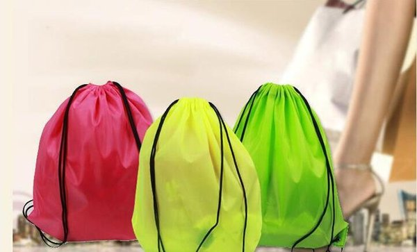 top popular Hot wholesale drawstring tote bags Drawstring Backpack folding creative promotion gift shopping bags mixed color sent 2019