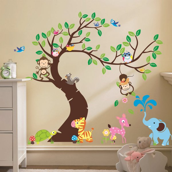 Oversize Jungle Animals Tree Monkey Owl Removable Wall Decal Stickers Muraux Nursery Room Decor Wall Stickers for Kids Rooms