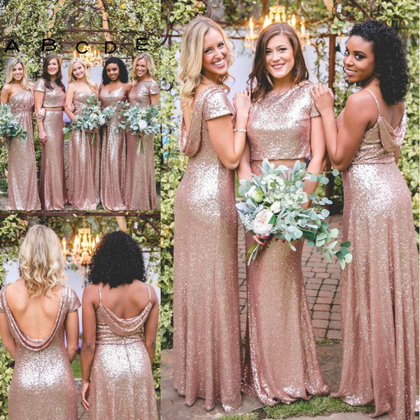 Sparkly Rose Gold Cheap Mermaid Bridesmaid Dresses 2019 Short Sleeves Backless Long Beach Sequins Maid of Honor Bridesmaid Gowns