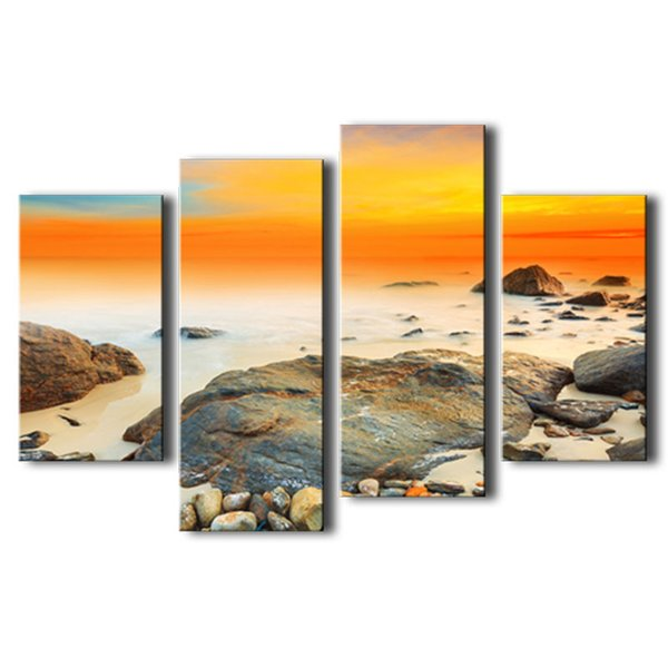 Amosi Art-4 Pieces Modern Canvas Prints Artwork Contemporary Seascape Paintings on Canvas Wall Art for Home Decoration with Wooden Framed