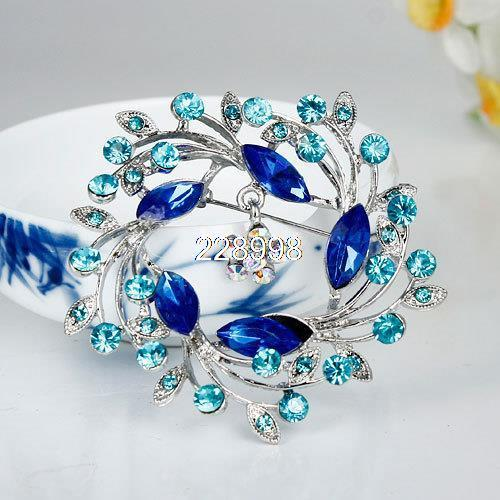 Brooches America And Europe Style Blue Flower Exquisite Alloy And Rhinestone Brooch,Delicate Brooch,Free Shipping