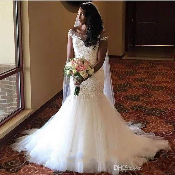 Plus size vestidos de noiva sereia vestido de noiva Vintage Lace glamourosa vestido de casamento Sexy Sereia vestidos de casamento