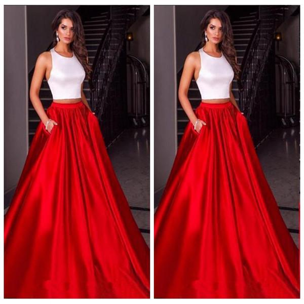 2016 Halter Elegant White Red A Line Prom Dresses Satin Custom ...
