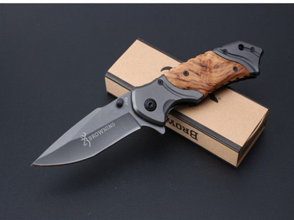 top popular Collection Browning X49 Fast Open Tactical Folding Knife 5Cr15Mov 57HRC Titanium Wood Handle Hunting Survival Pocket Knife Utility EDC Tools 2019