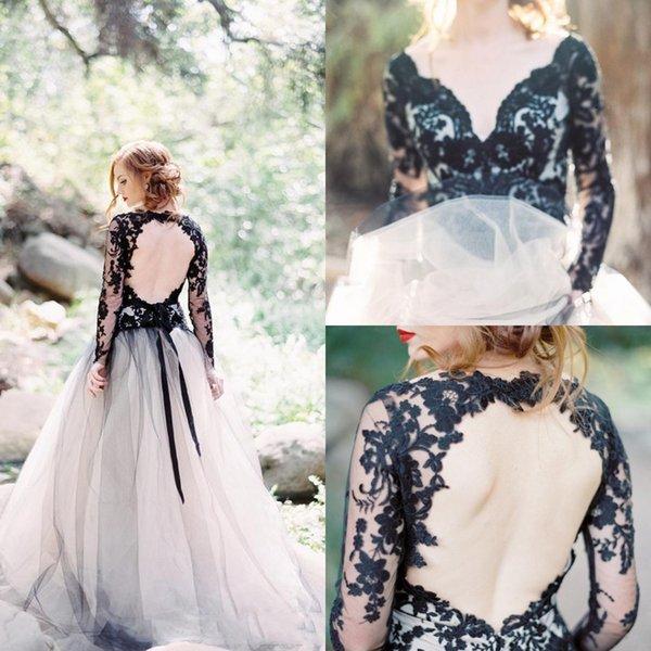 Plunging V Neck Prom Dresses With Long Sleeve Keyhole Back Black ...