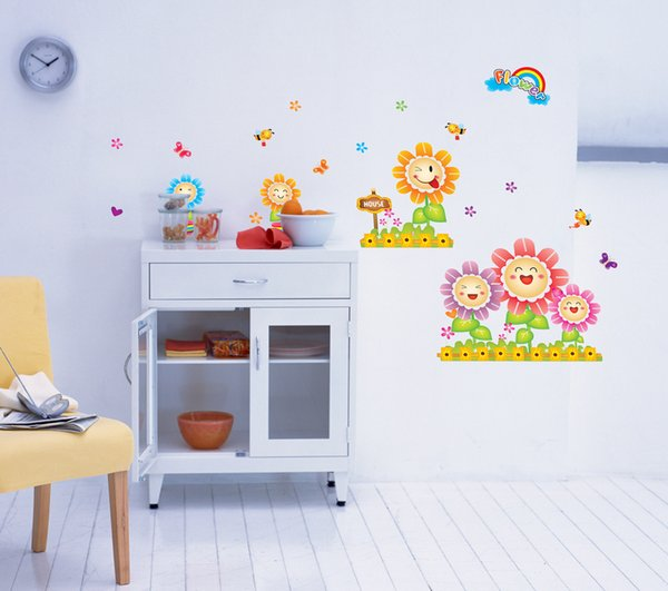 Cartoon waterproof wall stickers children bedroom kindergarten background adornment PVC sunflower wall stickers can remove decals