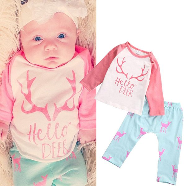 hot sale girls suits 2016 Newborn Kids Baby Girl hello Deer long sleeve tshirt tops+pants child set pink+sky blue Clothes Outfits Set 2pcs