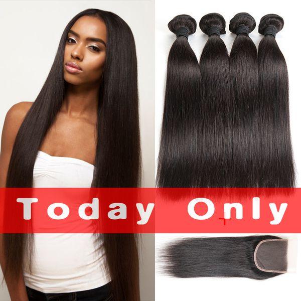 Brazilian Straight Hair 4 Pcs/Lot With Closure 10A Indian Peruvian Straight Human Hair With Closure Mink Brazilian Human Hair Extensions