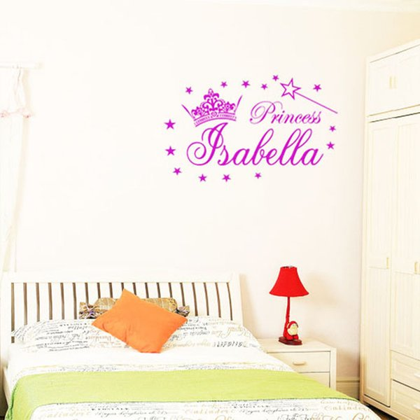 Lovely Customer Made Personalised Name Princess Crown Stars Wall Sticker  Girls Bedroom Wall Decals Home