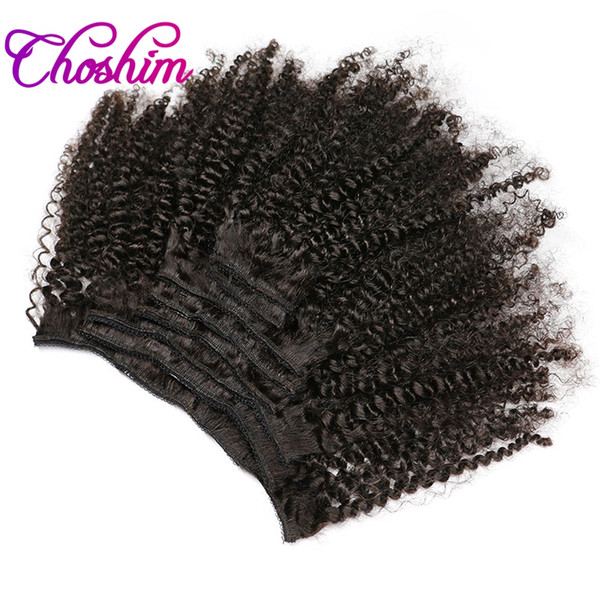 KL Hair 4B 4C Afro Kinky Curly Clip in Human Hair Extensions Natural Black Full Head Brazilian Remy Hair Clip ins Free Shipping