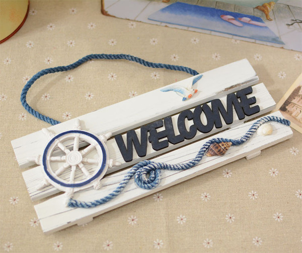 best selling AIBEI-Europe Pine Wooden Wood Craft Welcome Board Mediterranean Style And Home Decor Anchor Nautical Wood free Shipping
