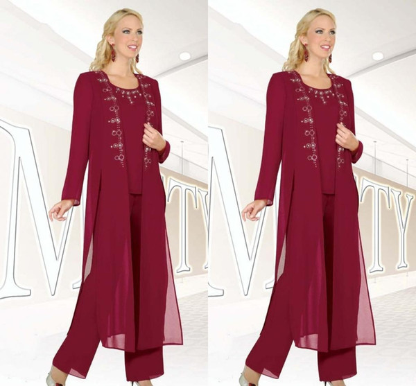 3 Piece Fuchsia Chiffon Mother of the Bride Pant Suits with Jacket for Wedding Party Elegant Evening Formal Wear Party Gowns Custom Made