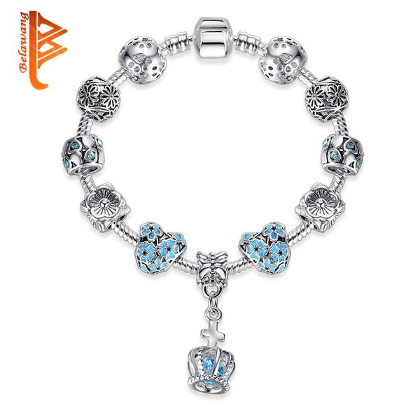 BELAWANG European Crown Charm Bracelets for Women Cubic Zirconia Crystal Bangles 925 Silver Bracelets Pulseras Authentic Jewelry Gift