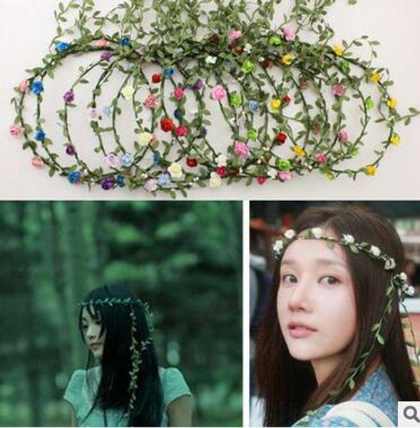Women Girl Bride Crystal Pearl Hair Band Garland Flower Wedding Party Headband