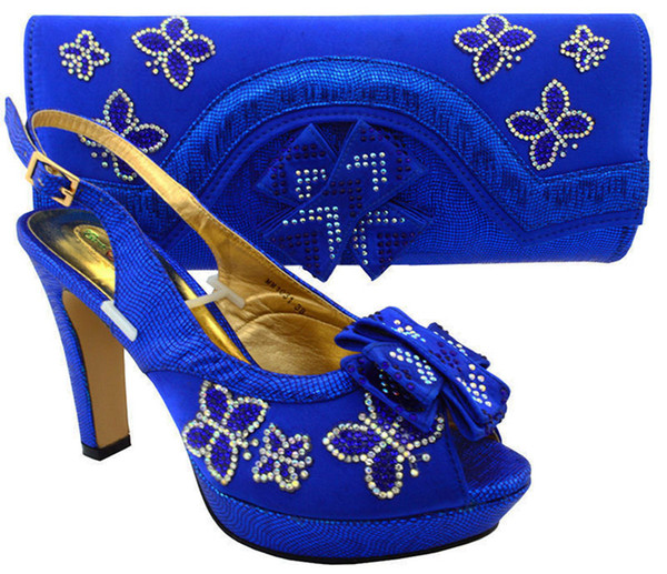 Most popular royal blue african shoes match bag set with rhinestones lady bowtie shoes and handbag MM1031,heel 11.5CM