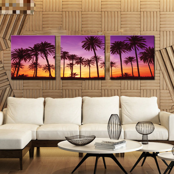 Fashion Style Sunlight Shinning in Coconut Tree Modern Canvas Oil Paintings 3-pieces Abstract Landscape for Living Room Home Decoration