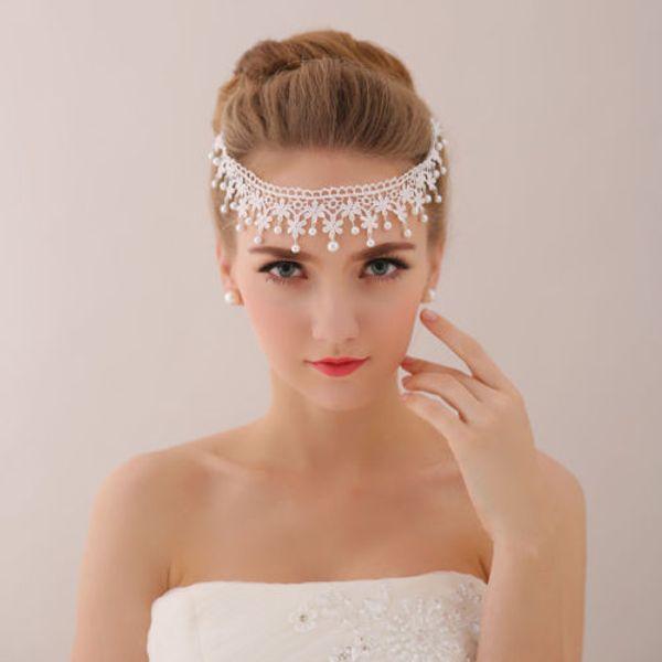 Venta al por mayor boda nupcial de encaje tocado corona diadema tiara princesa accesorios para el cabello perla frente pelo cadena de joyería de plata Queen Band