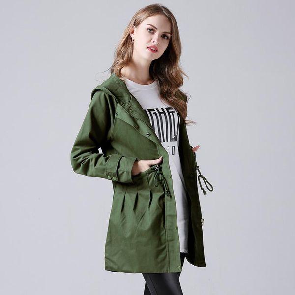 Plus Größe Frauen Trenchcoat Mode Winter Weibliche Lange Dünne Mäntel Street Casual Hoodies Outwear Windjacke Grün Jacken Kleidung