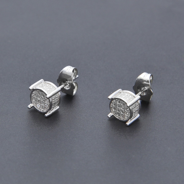 Hip Hop Iced Out Silver 3d Round Side CZ Simulated Lab Diamond Screw Back Stud Earring