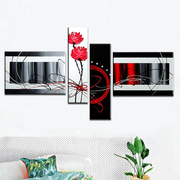 Multi piece combination 4 pcs/set Canvas Art Abstract Oil Painting Knife flowers Black White and Red Wall Decor hand-painted Pictures Home d