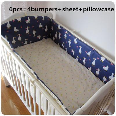 Promotion! 6PCS cotton Baby Bed Set Bed Linen Cot baby bedding set (bumpers+sheet+pillow cover)
