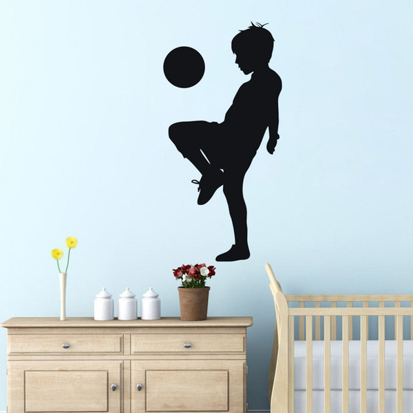 Free Shipping: Middle Sized 3D DIY Photo Soccer Football Player PVC Decals/Adhesive Family Wall Stickers Sport Mural Art Home Decor