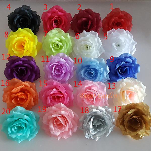 100 UNIDS 10 CM 20 Colores de Seda Rosa Artificial Jefes de Flores de Alta Calidad Flor de Bricolaje Para La Boda Pared Arco Decoración Ramo de flores