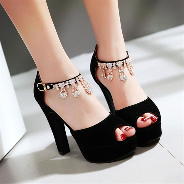 b1cf333da Sandals Flock Shoes Woman small yards 32 33 Large size 46 45 44 43 42 41 40  High Heel 11.5CM Platform 3.5CM EUR Size 31-47