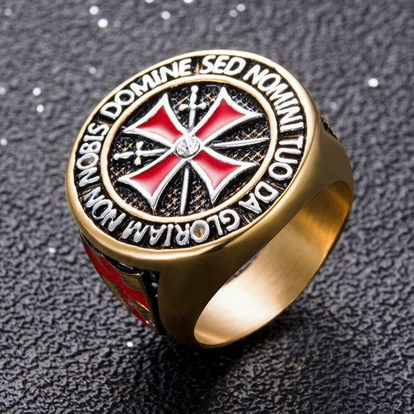 Punk Rock Crusader Cross Stainless Steel Rings for Men - Knight Templar Christian Holy Cross Ring Male Jewelry (US Size 8-15)
